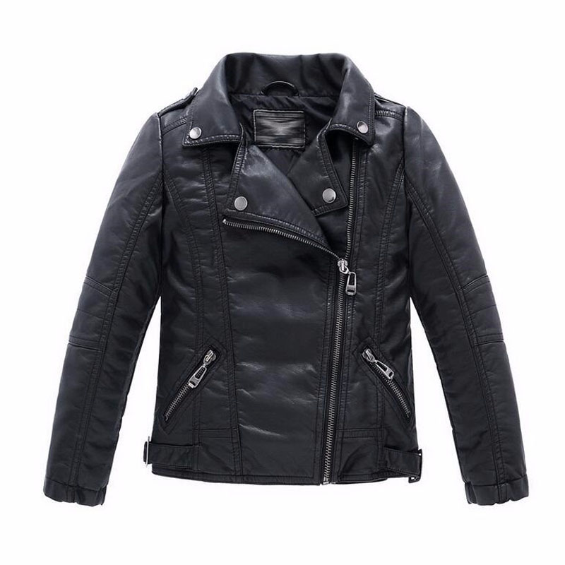 Jacket Kids Outerwear Coats Spring Faux-Leather Girls Black Baby-Boys Children And Casual