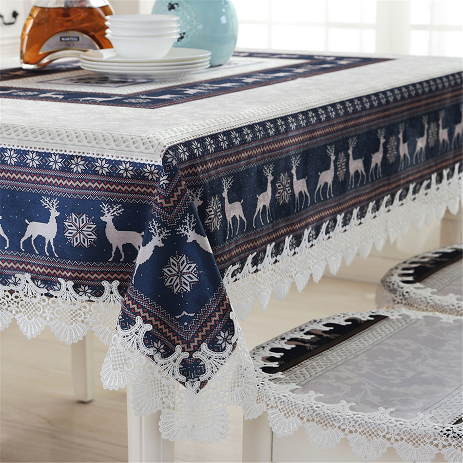 Embroidered european style tablecloth scandinavian tablecloths coffee table cloth christmas Coffee table tablecloth