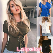2018 Sexy Women Loose Casual Short Sleeve Lace Up T Shirt Tops Clothes New Fashion Ladies Clothing Summer Laipelar
