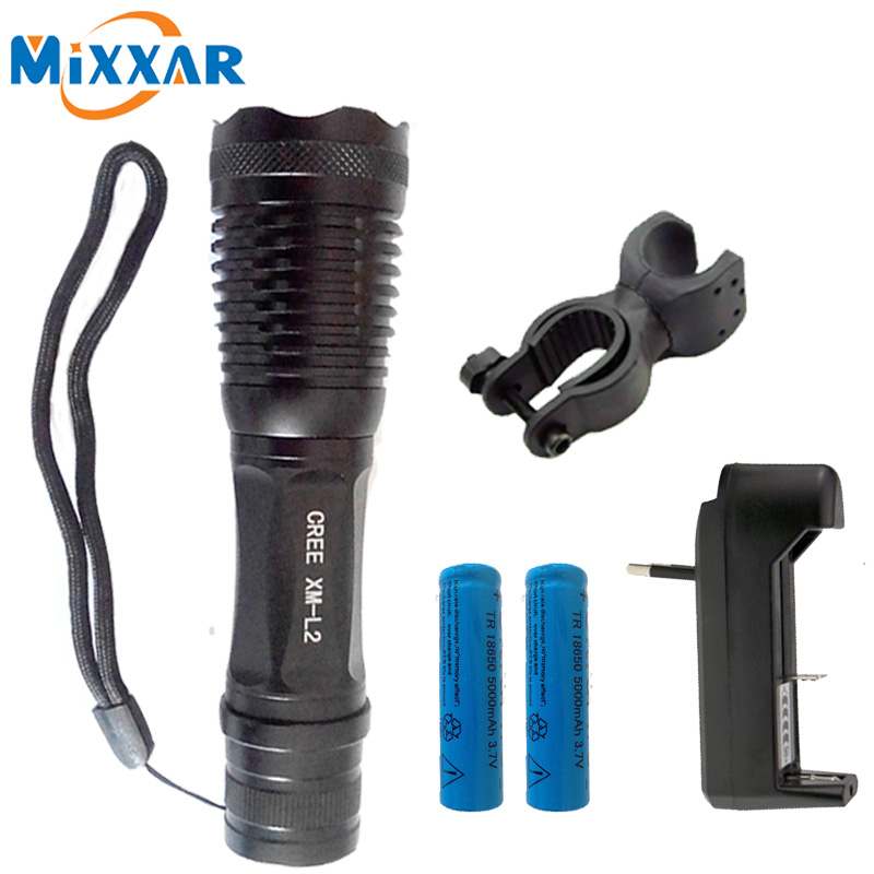 ZK15  LED Bike light flashlight Focus lamp LED torch CREE XM-L L2 T6 8500lm Zoomable lights + Charger + 18650 5000mAh battery hot sale 3x cree xml t6 led headlamp bike light 5000 lumen 18650 led head light 4x18650 battery pack charger bike rear light