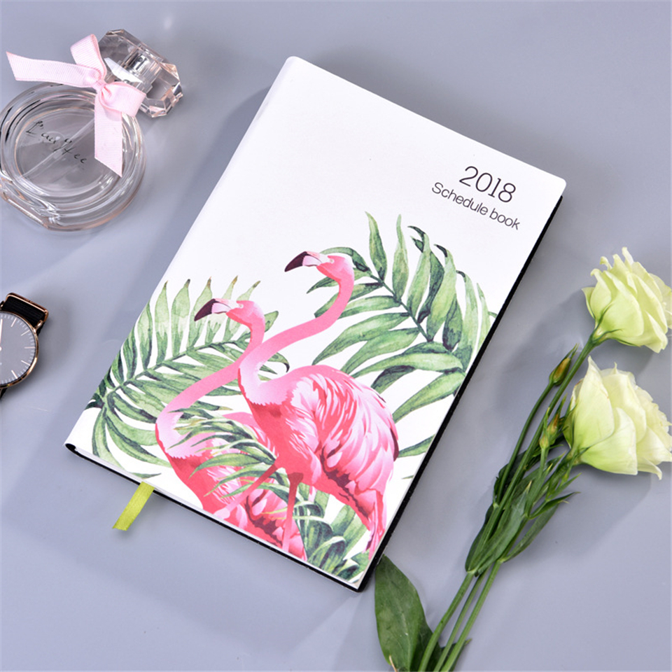 A5 Planner Schedule Notebook Organizer Dokibook Fashion Leather Flamingo Journal 150sheets 14 months 2018 Agenda Notebook ежедневник a life dokibook a6 a5personal8