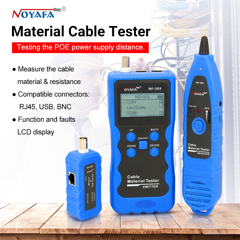 NF-309 Cable Tester Material/length Tester Wire Locator POE Tester Cable Material Tester With Lithium Battery