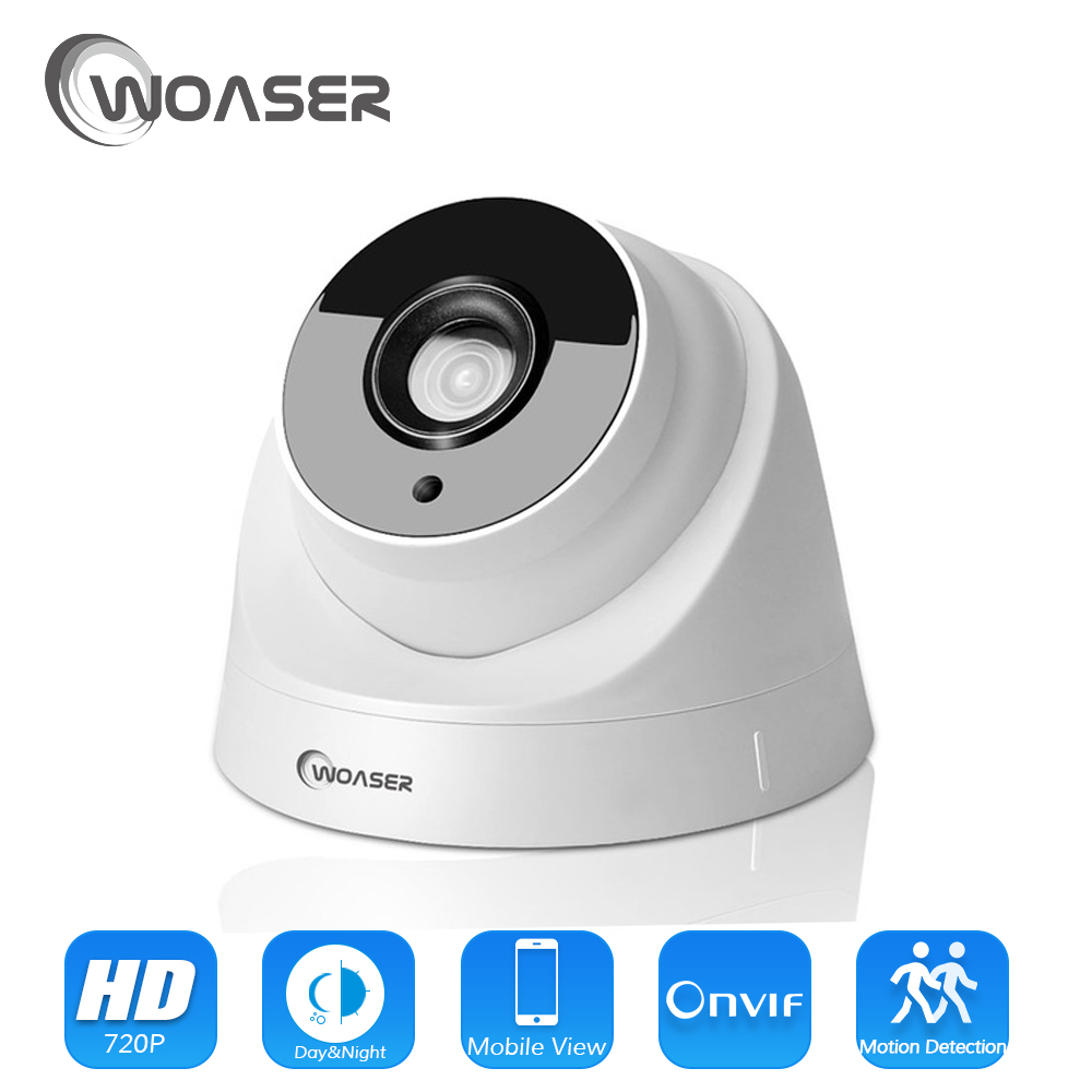 WOASER 1.0MP IP Camera H.264 indoor Night Vision IR CCTV Dome Surveillance HD 720P Camera Home Security ONVIF2.0 XMEYE Camera 4pcs lot 960p indoor night version ir dome camera 4 in1 camera 3 6mm lens p2p onvif abs plastic housing