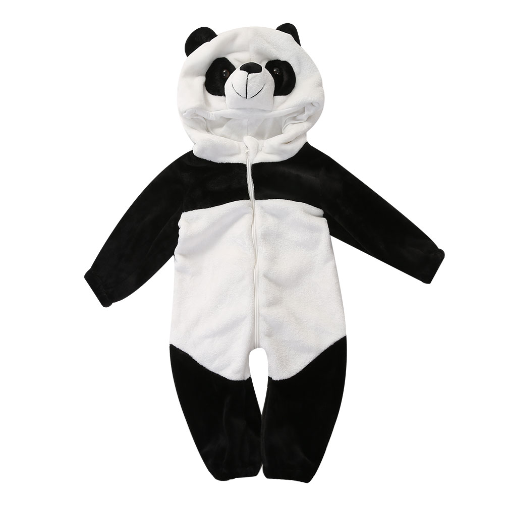 Baby Boy Girl panda Hooded Zipper Rompers Cute Baby Warm Costume Onesie Panda Climbing Pajamas