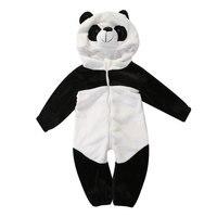 Baby Boy Girl panda Hooded Zipper Rompers Cute Baby Warm Costume Onesie Panda Climbing Pajamas Romper Coverall