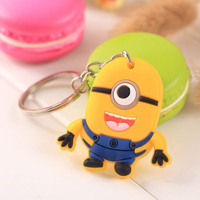 Wholesale Cute Keychain Rubber Key Chain PVC Cartoon Key Ring Creative Couple Key Bag Pendant Gift For Women Children Student 2