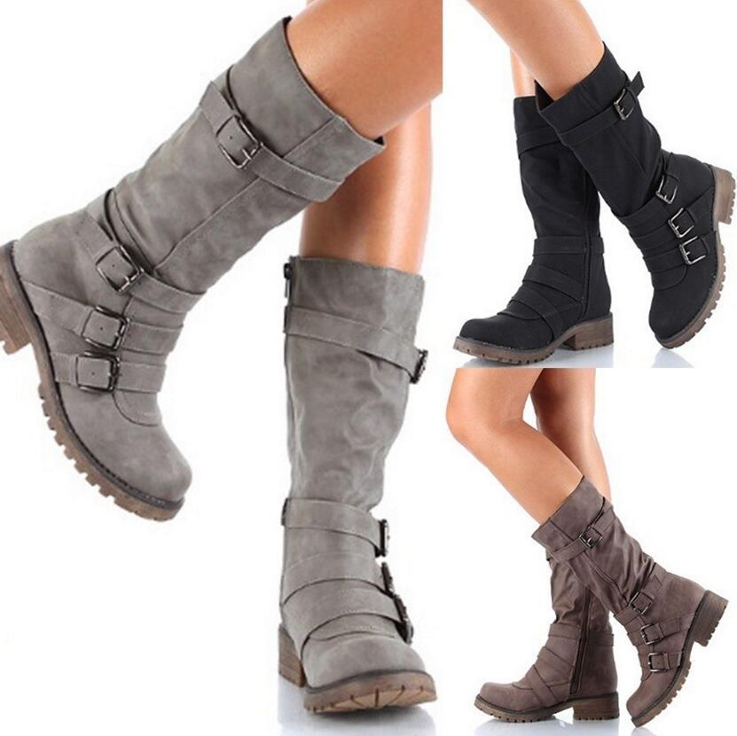 39fa8c5c035 Genou Femme brown Haute Shipping Chaussures Filles Chaussure Carrés Dames  Drop Boucle Black Bottes gray Talons ...