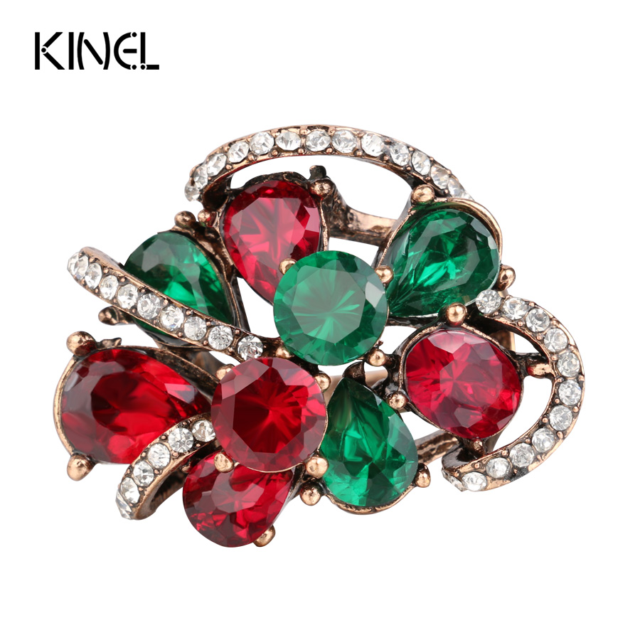 Luxury Antique Rings For Women Color Gold Crystal Flower Ring Multiple Layers Resin Party Anel Aneis Vintage Jewelry