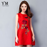 YuooMuoo 2016 New Women Dress European Style Elegant Rose Embroidery Dress A Line Short Party Dresses