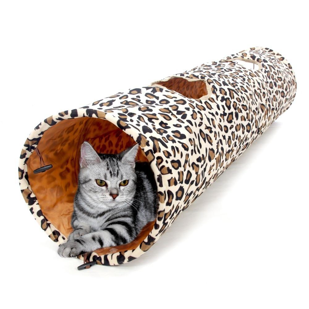 뜨거운 판매 1.25M 애완 동물 제품 고양이 터널 표범 인쇄 귀뚜라미 고양이 재미 2 구멍 긴 터널 새끼 고양이 장난감 애완 동물 생활 필수
