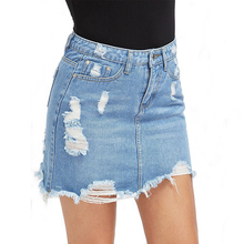 Womens Mini Denim Skirt Ripped Tassel A-Line Blue Basic Pocket Jean Skirts Female Casual Irregular Saia Mujer Jeans 2019 Summer