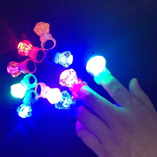 2018 Direct Selling New Arrival Costume Leds 200pcs/lot Plastic Diamond Ring Led Finger Mix Colors Kids Toy Party Decoration