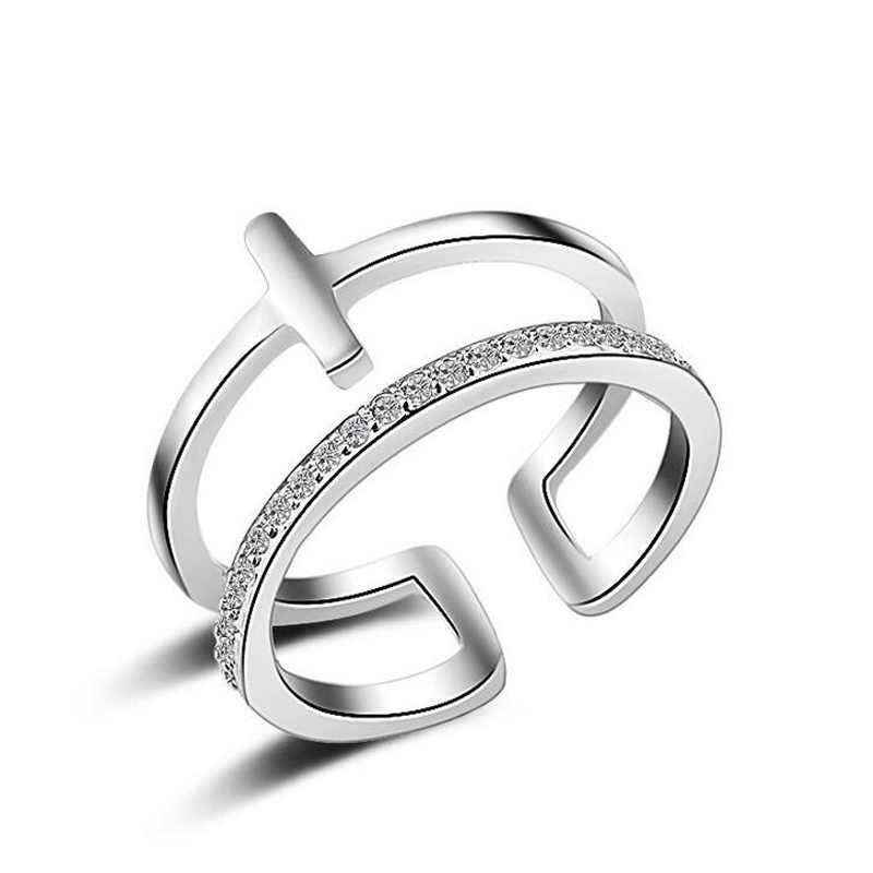 Factory Price Brand New Design Width Cross Women Rings Fashion Double 925 Sterling Silver Rings For Woman Party Jewelry