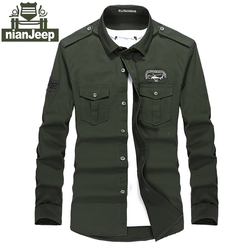 NIAN JEEP Brand Clothing Chemise Homme Military Shirt For Men Clothing Long Sleeve Casual Men Uniform Army Shirts 59