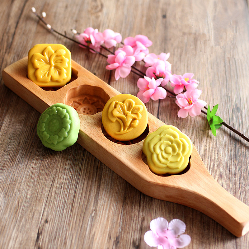 Mold of Wood Ice skin mooncake / Mung Mung Bean Cake Dim sum / Pumpkin Biscuit / New year Cake Bread Baking Mold image