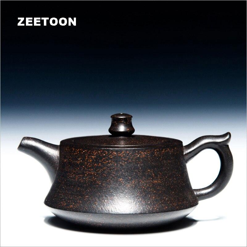 215cc Yixing 주전자 정통 보라색 클레이 마스터 수제 중국 건강 관리 쿵푸 차 세트 Zisha 검은 차 Puer 주추 팟 새로운