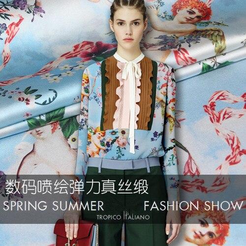 Angel digital stretch silk satin fabric soft shirt dress catwalk natural wholesale cloth