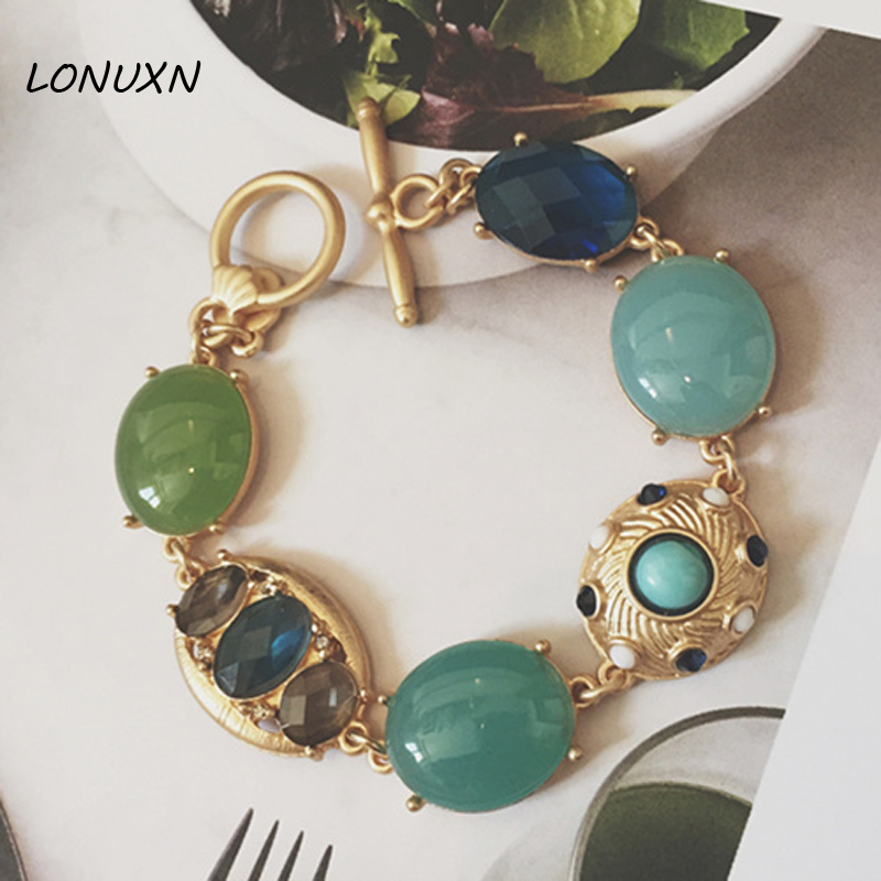 famous brand zinc alloy green female Korean gold Bracelet woman Jewelry Semi-precious stones Bohemian retro dinner party style ...