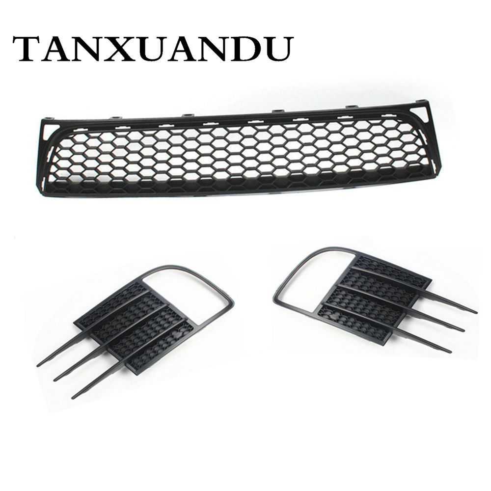 Front Bumper Lower Grille + Pair Foglight Grill Cover Bezel For VW Golf GTI MK6 grille