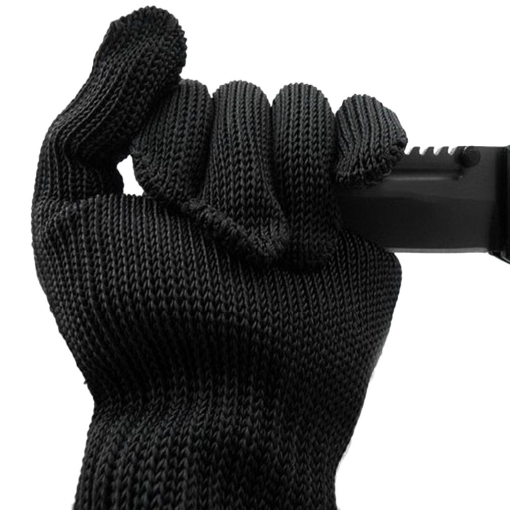 Working Safety Gloves Black Stainless Steel Wire Safety Work Anti-Slash Cut Static Resistance Wear-resisting Protect Hand Gloves