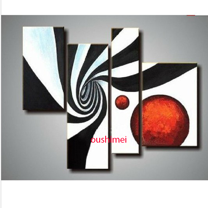 Hand painted 4p modern abstract pictures on canvas black - Imagenes para cuadros decorativos ...