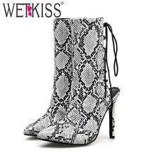 6410ff6d63e92f WETKISS Serpent Haute Talons Femmes Bottes Bout Pointu Croix Liée Chaussures  Slingback Femelle Boot Mode Chaussures