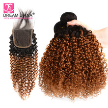 DreamDiana Remy Ombre Brazilian Kinky Curly With Closure 1B 30 Two Tones Colored Ombre Bresilienne Curly Hair With Closure(China)