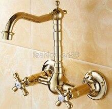 Роскошный Полированный Золотой Латуни Настенные Водопроводной Воды Бассейна Кухня Ванная Умывальник Кран asf101