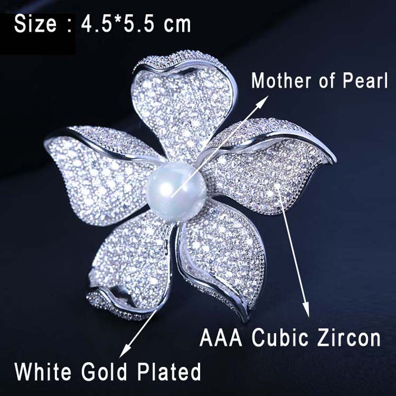 Image 2 - Red Trees High Quality Sparkly Flower Brooch For Women With Luxury Cubic Zircon And Shell Pearl Christmas Gift For Ladies-in Hair Jewelry,Brooches & Body Jewelry from Jewelry & Accessories