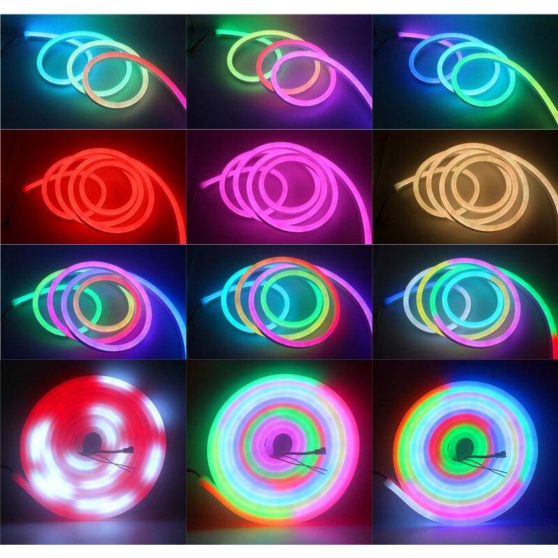 12 В WS2811 пиксель rgb полоса света неоновая Светодиодная лента Гибкая Водонепроницаемая IP67 ПВХ трубка Неоновая Светодиодная лента WS2812 умная полоса освещения - 5