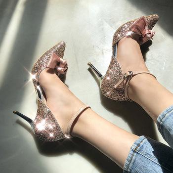 босоножки sweet shoes sweet shoes sw010awesyy8 Sequins Sweet Butterfly Knot Single Shoes Tip Shallow Bridesmaid Shoes Slim-heeled High-heeled Hollow Shoes for Women