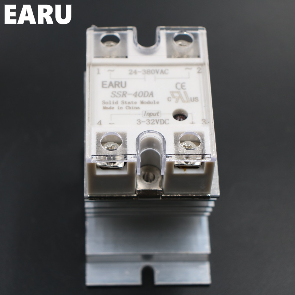 1 pc <font><b>SSR</b></font>-40DA Solid State Relay Moudle <font><b>SSR</b></font>-<font><b>40</b></font> <font><b>DA</b></font> 40A with Plastic Cover+1 pc Aluminum Heat Sink Dissipation Radiator Combination image