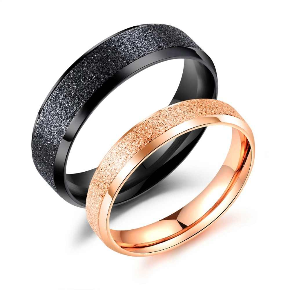 FATE LOVE Fashion Jewelry Black Rose Gold Color Frosted Couples Rings for Lover Male Female Women Men US size 4 5 6 7 8 9 10 11