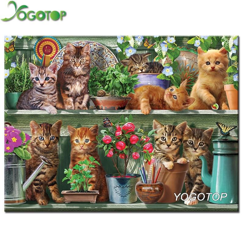 YOGOTOP Diy Diamond Painting Cross Stitch Mosaic Kits Needlework Garden cat Painting Square Diamond Embroidery Home Decor ZB984