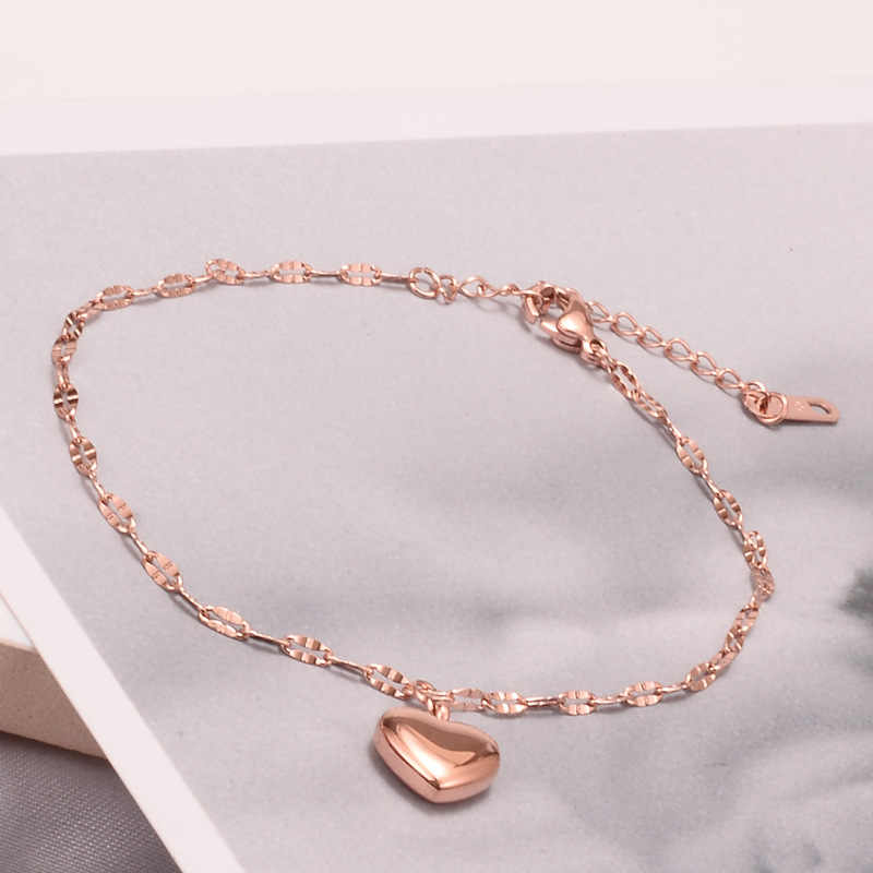 Fashion Stainless Steel Leg Bracelet Silver Gold Rose Gold Color Peach Heart Charms Leg Chain Anklet For Women Gilrs Gifts