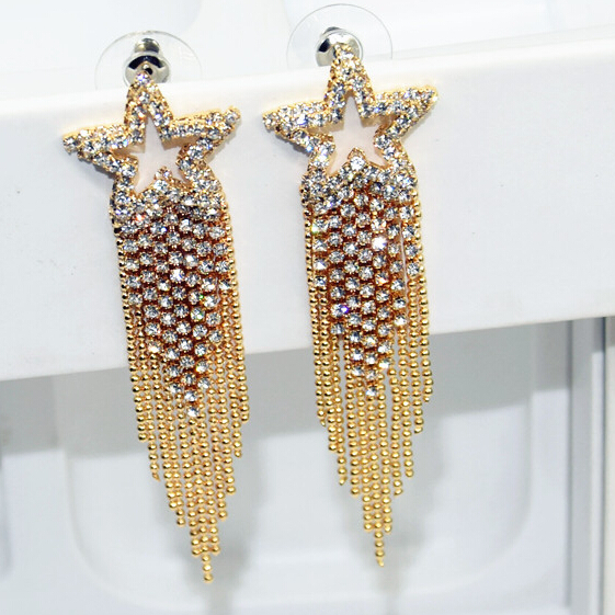 Hot Trendy Jewelry Geometrical Square Gold Plating Long Tassel Earrings  Women Earring Jewelry