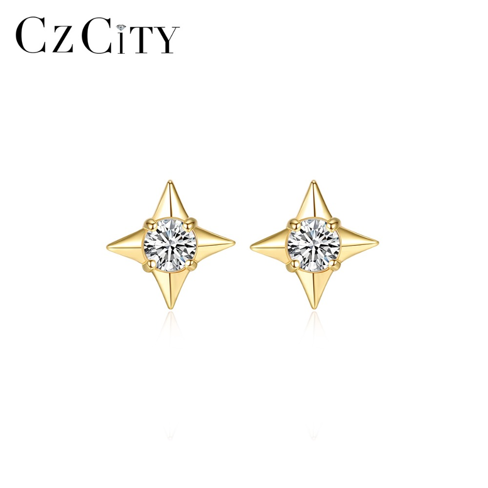 CZCITY Genuine 14K Gold Personalized Star Stud Earrings for Women Unique Geometric Cubic Zircon 14K Yellow