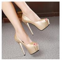 2018 Women Shoes Autumn Fashion Platform Women Pumps Concise Solid High Heels 14cm Shoes Female Peep Toe Shallow Party Shoes