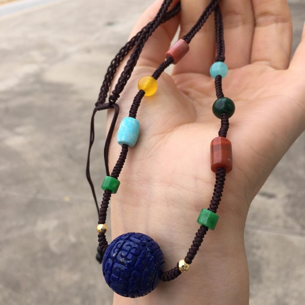 100% perles de Lapis bleu naturel avec ambre jaune naturel et colliers de corail pour les femmes colliers fins-in Colliers from Bijoux et Accessoires    2