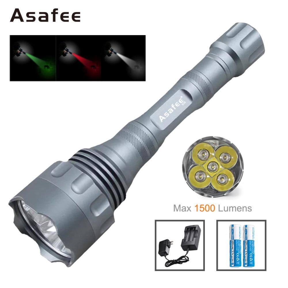 Asafee S48 Powerful LED Flashlight 1500 Lumens 5 CREE XR E Q5 LED Police Security Flashlight