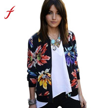 Feitong Fashion Autumn Women Basic Coat female Long Sleeve Floral Print Zipper Baseball Jacket Coat Outwear Casaco Feminino 2017