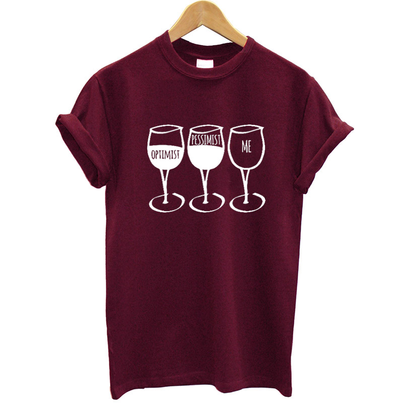 New Style Girls T Shirt Goblet Printed Quick Sleeve O-Neck Humorous T-Shirt Wine Informal Girls Tee Shirt Streetwear Garments Model