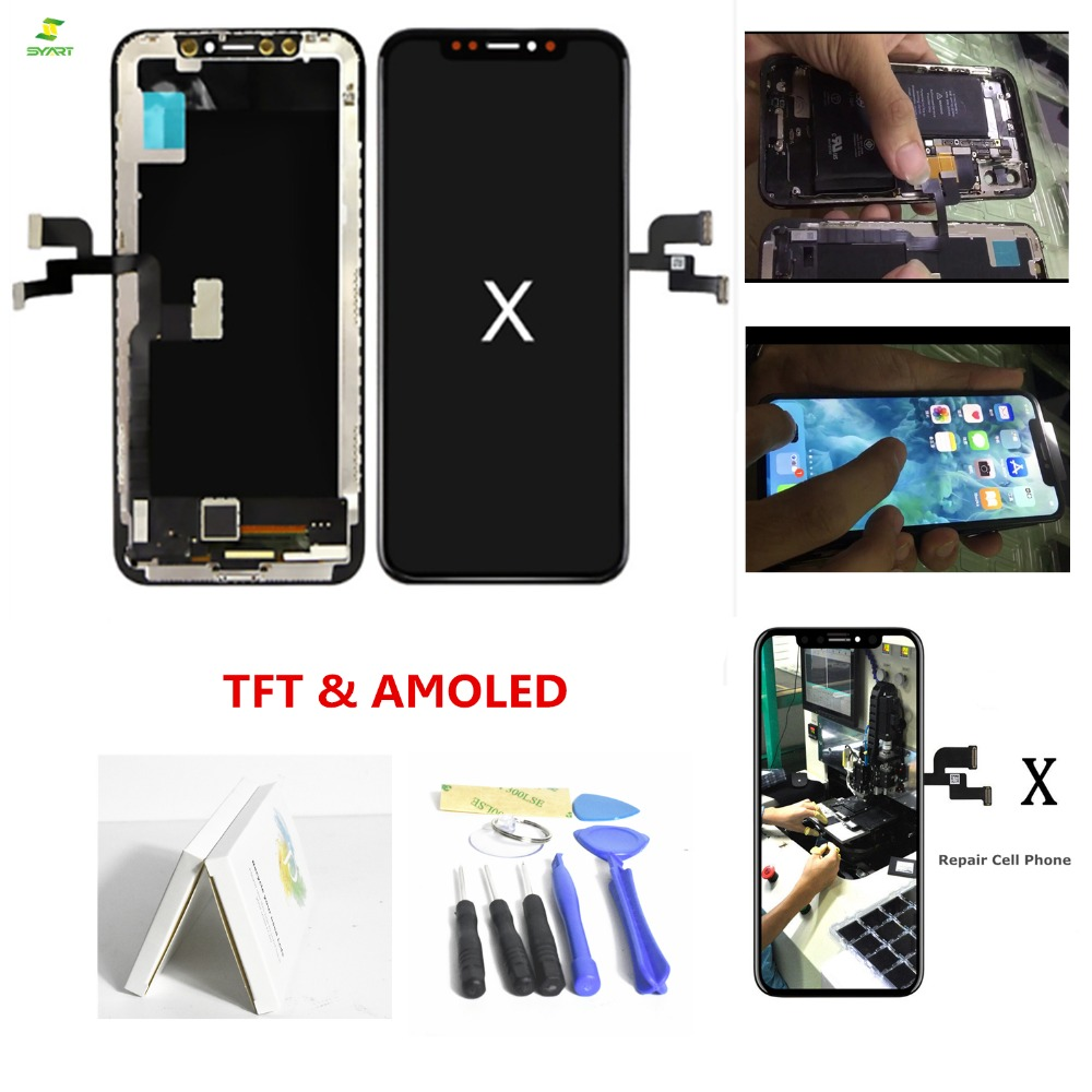 IP Dix 5.8 Pantalla Komplett Einheit Lcd Pour iPhone X 10 Lcd Affichage Écran Tactile Numériseur Assemblage Complet AAA + Couleur noire