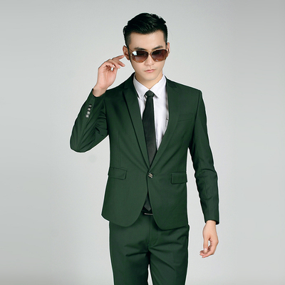 Free shipping new 2015 Korean style men clothing men suit jackets one button two button wedding suits for men suits with pants