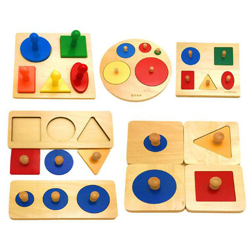 Kids Toy Baby Wood Learning Geometric Shape Panels Hand Grasping Board Educational Preschool Training Montessori Materials Toys