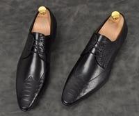 Для мужчин рыбьей чешуи узор обувь ручной работы черный коричневый с острым носком на шнуровке на плоской подошве формальная обувь из натур