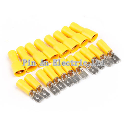 Yellow Fully Insulated Nylon Female Spade Crimp Connector Terminal 12-10AWG 100P