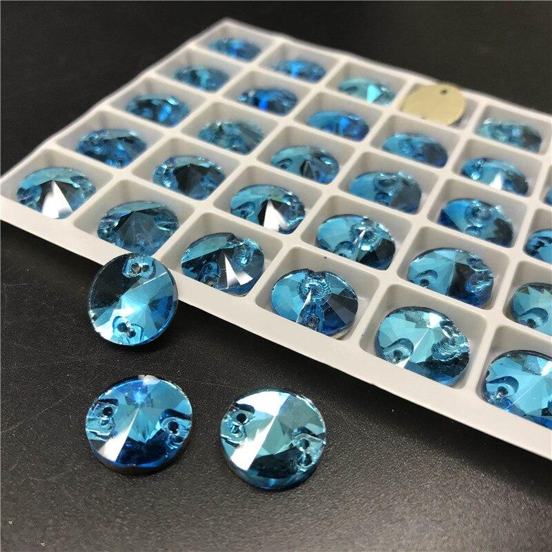 Aquamarine Glass Crystal RIVOLI Sew-On Stone FLATBACK Round SEW ON Rhinestones for Dress Clothing accessories