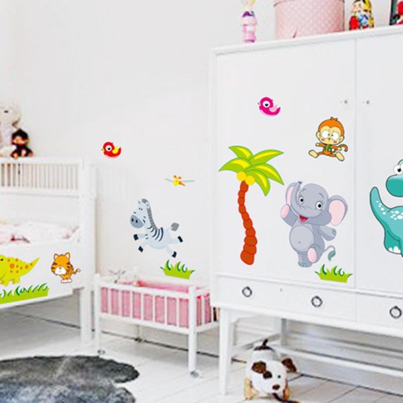 Owls Jungle Animals Wooden Bedroom Furniture Kids: Big Jungle Animals Bridge Vinyl Wall Stickers Kids Bedroom