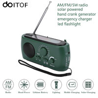 DOITOP Protable Radio Solar Hand Crank Powered Emergency Charger Phone Charger Outdoor Hiking LED Flashlight FM
